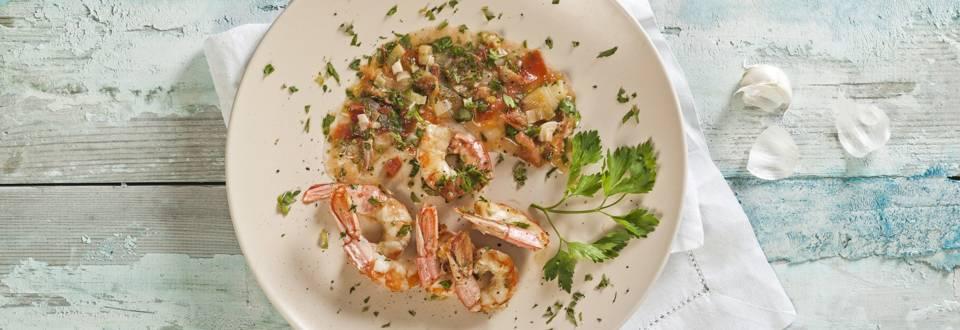 Shrimps in wine sauce