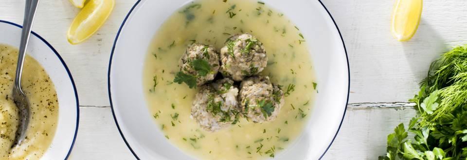 Meatball soup in egg-lemon sauce